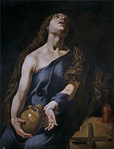 Oil painting ` Espinosa Jeronimo Jacinto Magdalena penitente 17世紀`印刷ポリエステルキャンバスに、10x 13インチ/ 25x 33cm、The Bestスタディアートワークとホームデコレーションとギフトはこの美しいアート装飾プリントキャンバスの商品画像