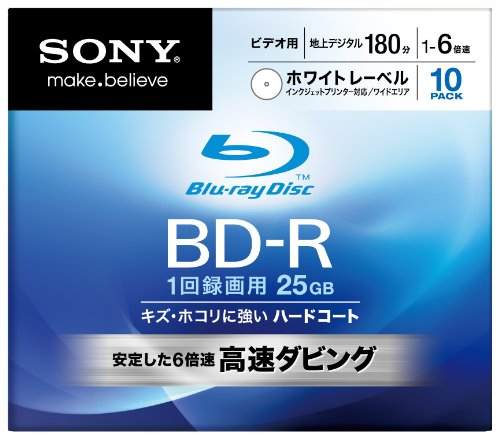 Sony Blu-ray Disc 10 Pack - 25GB 6X BD-R - White Inkjet P...