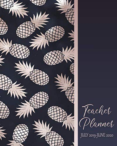 Teacher Planner July 2019 - June 2020: Lesson Planning & Monthly Academic Calendar:  Blue With Rose Gold Pineapple Cover Design