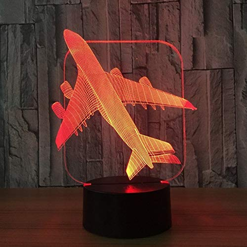 OVIIVO Creative Table Lamp Desk Lamp 3D Aircraft Warplane Model Creative Night Light Touch Jet Plane Desk Lamp Led Illusion Lamp Bedside Lamp Cool Toy Using for Reading, Working by OVIIVO (Image #3)
