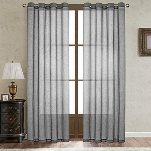 LoyoLady Grey Linen Curtains 102 inches Long, Farmhouse Linen Sheer Curtains for Living Room Decor, Set of 2 Panels 84 W x 102 L Grommet Window Curtains for Bedroom