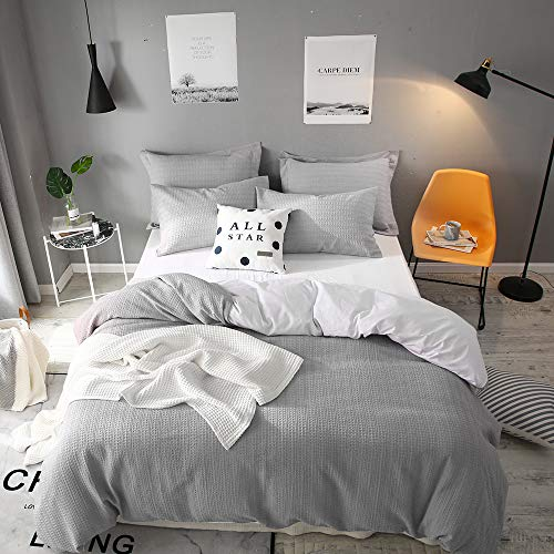 Lausonhouse Cotton Duvet Cover Set, Yarn Dyed Waffle Woven Stripe 100% Cotton Duvet Cover with 2 pillowshams- Queen Gray