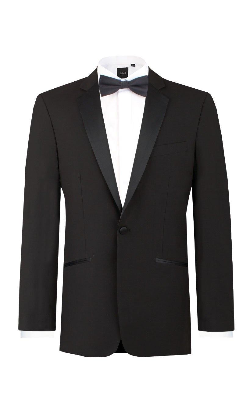 Dobell Mens Black Tuxedo Dinner Jacket Regular Fit Notch Lapel-48R by Dobell