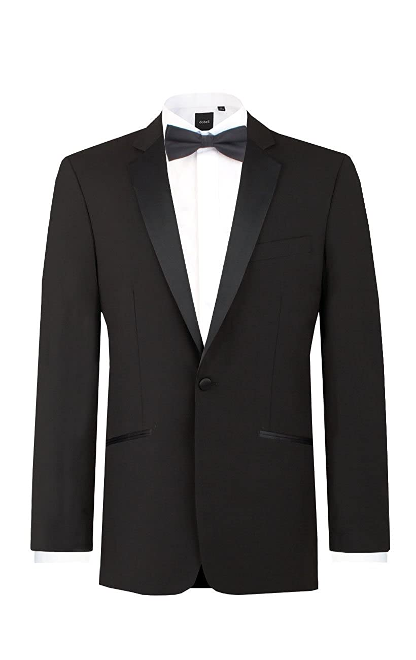 1940s Men's Formalwear Dobell Mens Black Tuxedo Dinner Jacket Regular Fit Notch Lapel $59.95 AT vintagedancer.com