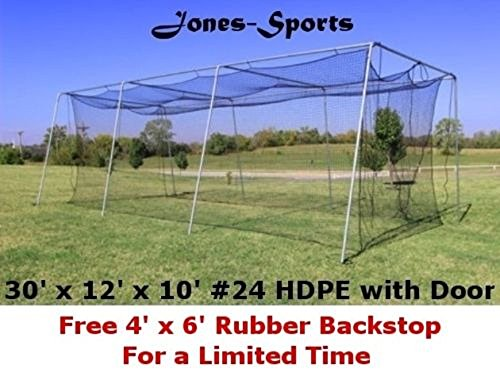 10' x 12' x 30' #24 HDPE (42PLY) with Door Baseball Softball Batting Cage net by Jones Sports