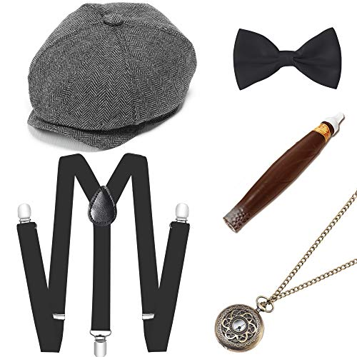 BABEYOND 1920s Mens Gatsby Gangster Costume Accessories Set Manhattan Fedora Hat Suspenders (Set-10) -
