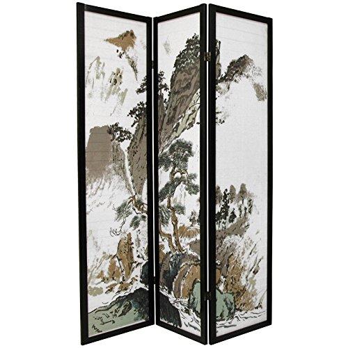 ORIENTAL FURNITURE 6 ft. Tall Landscape Design Shoji Screen - 3 Panel