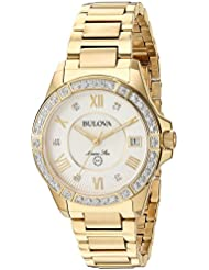Bulova Womens Quartz Stainless Steel Casual Watch, Color Gold-Toned (Model: 98R235)