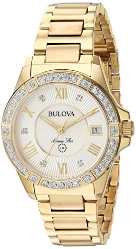 Bulova Women's Analog-Quartz Watch with Stainless-Steel Strap, Gold, 16 (Model: 98R235)