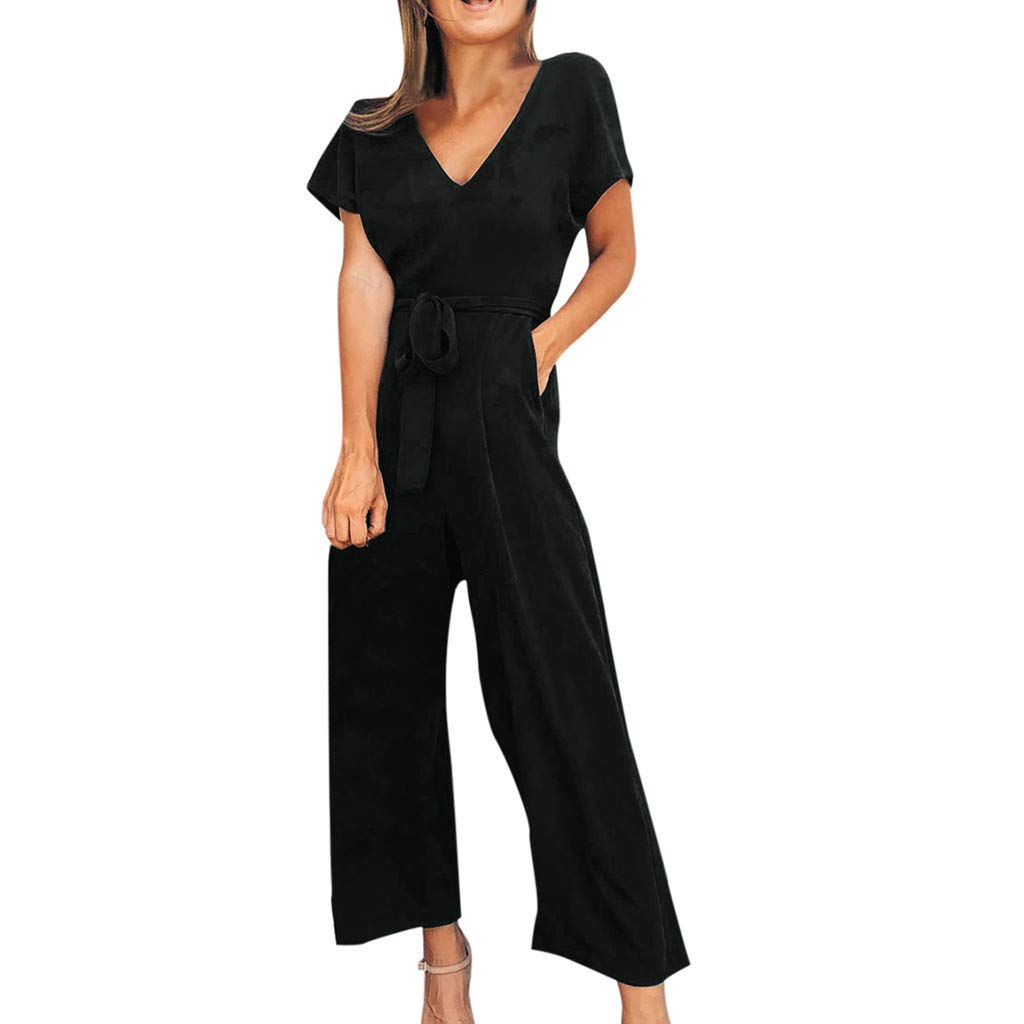 TOTOD Rompers for Women, 2019 New Solid Short Sleeve V-Neck Zipper Long Jumpsuits Pants with Belt Black