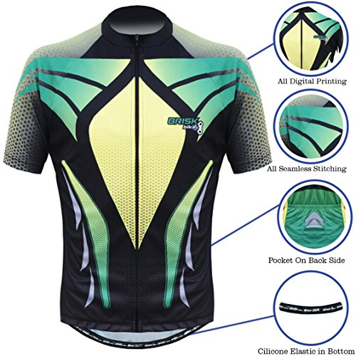 Briskbike Pro Vibrant Cycling Jersey with Pro cycling shorts for Road Bike, Mountain Bike, Bicycle Race, Cycle tour, Bike ride. (Red Black, Medium) (Medium, Green Black) (And Tour Ride)