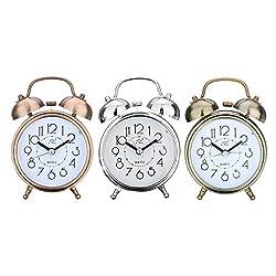 Jeteven Vintage Silent Alarm Clock Loud Twin Bell Mute Alarm Clock Quartz Analog Retro Bedside and Desk Clock with Nightlight (Copper,Bronze and Silver)
