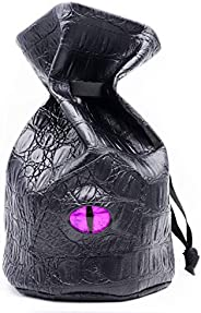 Haxtec Dragon Eye Dice Bag Drawstring PU Leather DND Dice Pouch Storage Bag for D&D Dice, Coins and Access