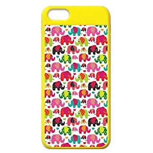 Cute Elephants Cartoon Protective Colorful Hard Shell Yellow Cover Case for iPhone 5C by lolosakes