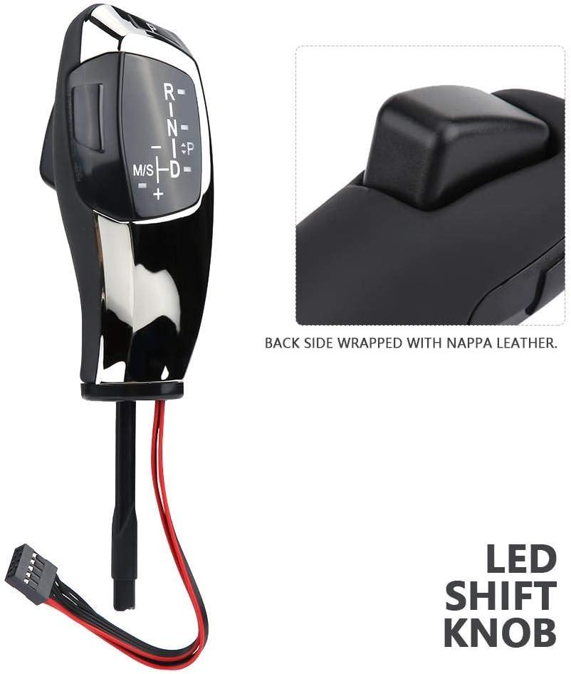 Chrom schwarz Schaltknauf Linkslenker Automatischer LED-Schaltknaufhebel f/ür E90 E91 E93 E81 E82 E84 E87 E88 E89