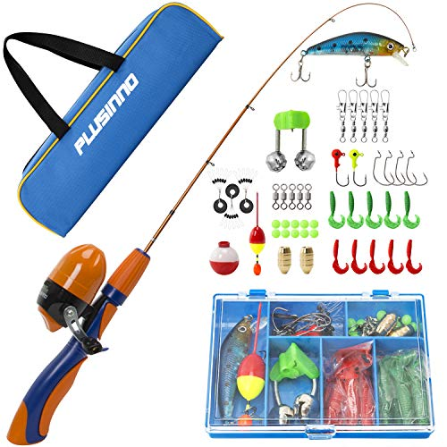 Kit Telescopic Fishing (PLUSINNO Kids Fishing Pole,Portable Telescopic Fishing Rod and Reel Full Kits, Spincast Fishing Pole for Kids, Boy, Youth (Orange Handle with Bag, 150CM 59.05IN))