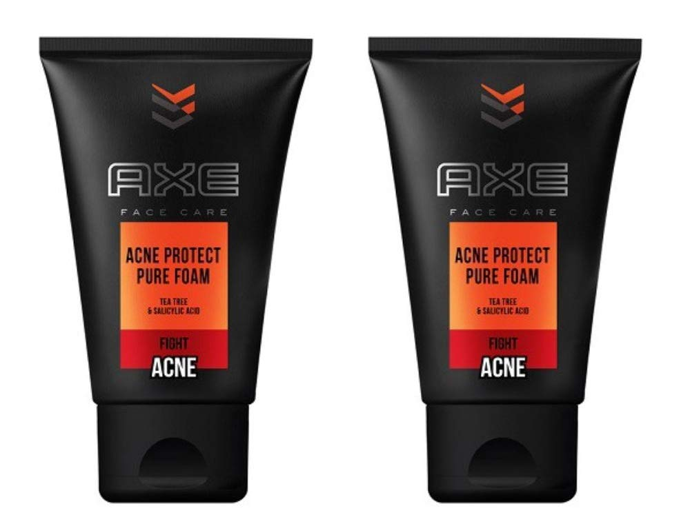 Axe Face Care Acne Protect Pure Foam Face Wash with Tea Tree, 100 Gram / 3.5 Ounce (Pack of 2)