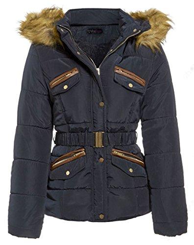 New Womens Padded Quilted Faux Fur Lined Roma Parka Jacket Coat_LJK-ROMA_Navy_12 - Womens Roma Jacket
