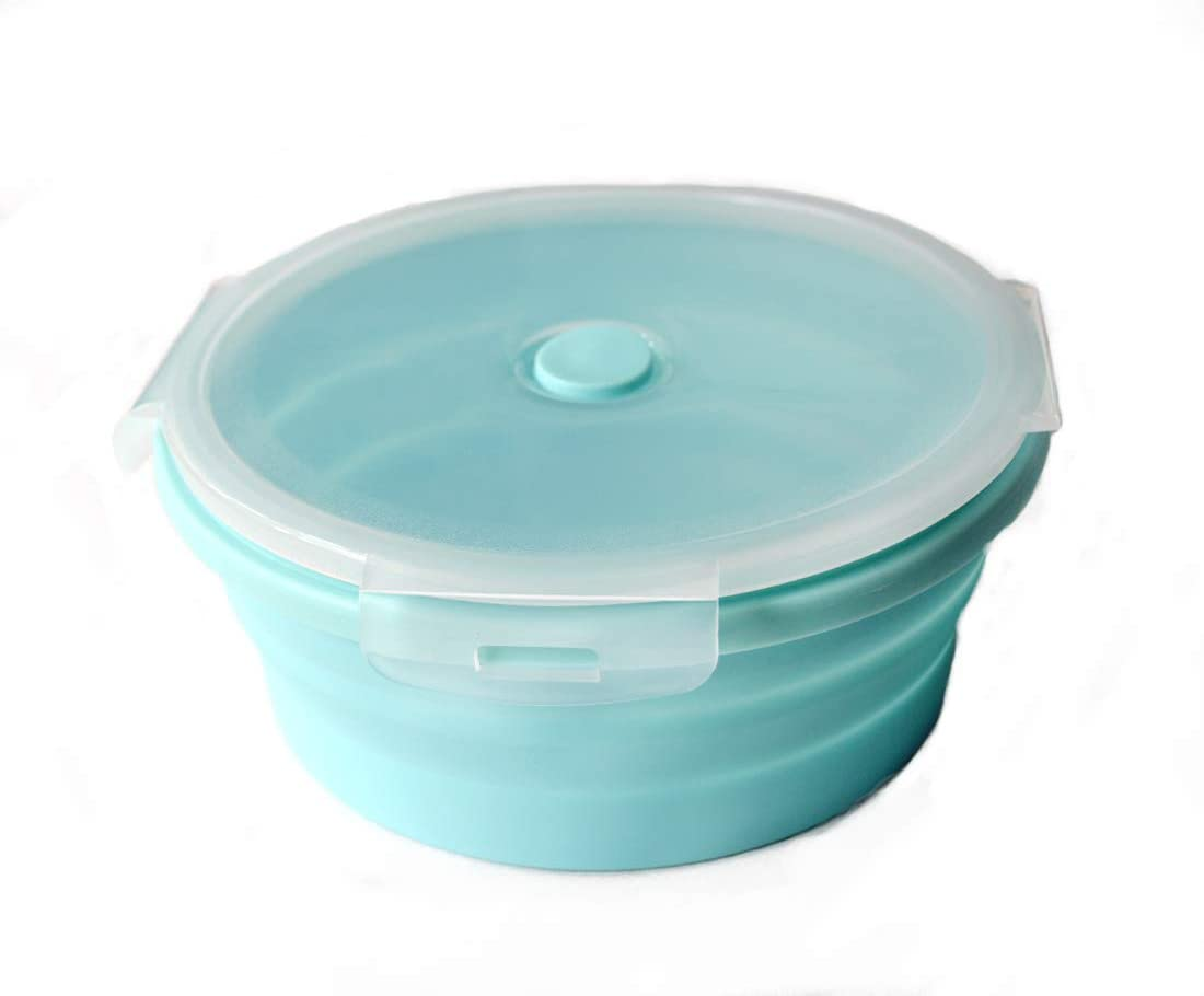Collapsible Prep/Storage Bowls with Lids Silicone Food Storage Container with Airtight Lid Bowl Meal Lunch Box for Travel, Space Saving,Microwave,Dishwasher &Freezer Safe - Mini Popcron Popper (Blue)