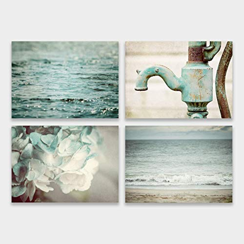 Teal Bathroom Wall Art Decor Set of 4 Unframed 5x7 Fine Art Prints, Beach and Rustic, Turquoise Mint Aqua Art for Bath Beach Cottage Wall Art