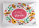 Lunarable Cinco De Mayo Pillow Sham, Circular Shape Background with Typography May Five Mexican Culture Elements, Decorative Standard Queen Size Printed Pillowcase, 30 X 20 inches, Multicolor