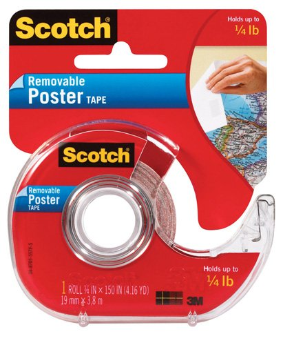 3M 109 Wallsaver Removable Mounting Tape - two pack (2 pack, white) (Tape Scotch Remove Glass)