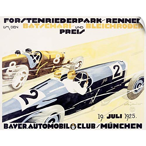 CANVAS ON DEMAND Bayer Auto Club Roadster, Vintage Poster, by Julius U. Engelhard Wall Peel Art Print, 48