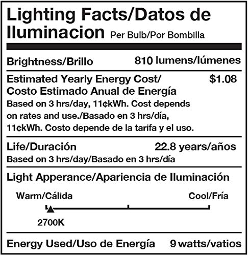 AmazonCommercial 40 Watt Equivalent, 25000 Hours, Dimmable, 450 Lumens, Energy Star and CEC (California) Compliant, E26 Base, A19 LED Light Bulb - Pack of 25, Soft White