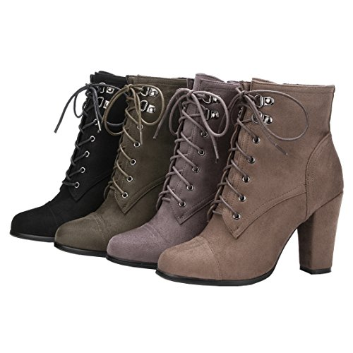 AIYOUMEI Womens Side Zipper Bootie Block Heels Solid Autumn Winter Lace Up Suede Ankle Boots Gray eh2hGHNM4C