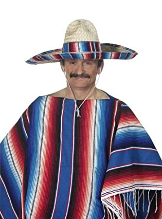 Cesar 23049200 - Disfraz de mexicano con sombrero y poncho para adulto  (talla única hasta talla 52)  Amazon.es  Juguetes y juegos 7c4dbede374