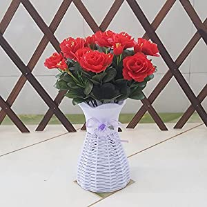 Red Artificial Flowers The Rhododendrons Plastic Flower Baskets Garden Decor - XHOPOS HOME 65