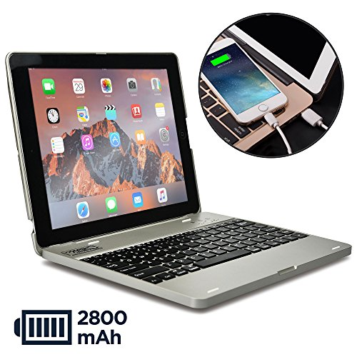 eyboard case compatible with iPad 4, iPad 3, iPad 2 | Bluetooth, Wireless Clamshell Cover with Keyboard | Built-in 2800mAh Power Bank to charge iPad, iPhone | 60HR Battery (Silver) ()