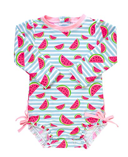 RuffleButts Baby/Toddler Girls Whimsy Watermelons One Piece Rash Guard - 12-18m -