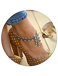 Silver Plated Boho Anklet Beach Summer Ankle Bracelet Foot Chain Jewelry Adjustable Barefoot Sandals