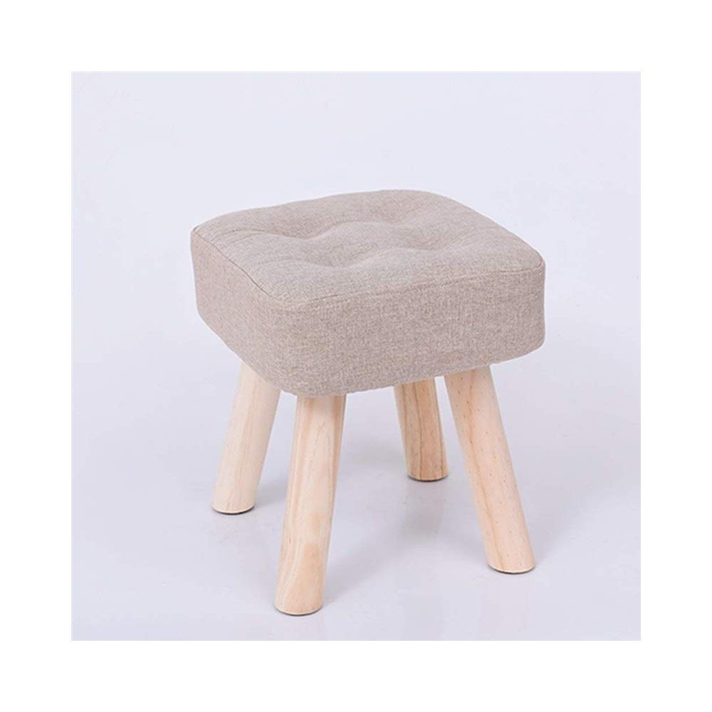 Beige Large Solid Wood Footstool Low Stool Fabric Small Bench Washable Small Chair Stool Home Adult Living Room Sofa Stool Multi-Function LEBAO (color   bluee, Size   Small)