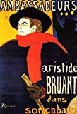 """18.1"""" x 27.1"""" Henri De Toulouse-Lautrec Ambassadeurs Aristide Bruant in his Cabaret removable and repositionable peel and stick wall decal produced to meet museum quality standards. Our museum quality wall decal stickers are produced using high-preci..."""