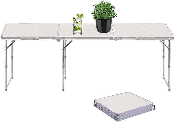 Mesa Plegable Portátil 180cm Ajustable Plegable para Camping/Cocina/Mesa de Trabajo para Picnic/Barbacoa/Cena al Aire Libre en Interiores
