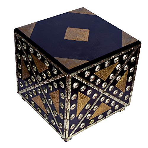 IndieCraft Golden and black stool in Square Shape