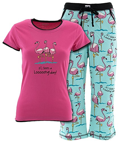 Lazy One Cotton Knit (Lazy One Junior's Flamingo Looong Day Capri Pajamas XS)