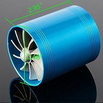 yunshuo Universal Turbo ventilador de doble entrada de aire ahorro de combustible Ventilador turbo Supercharger azul: Amazon.es: Coche y moto