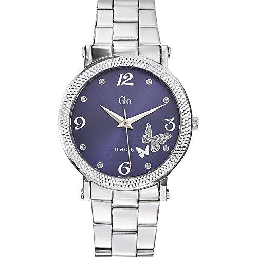 Go Girl Only 694793 - Reloj de Mujer, Movimiento de Cuarzo, analógico, Esfera Azul, Correa de Acero Plateado: Amazon.es: Relojes