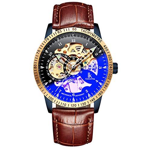 BesTn Wristwatches for Men self-Winding Allochroic Luminous Hands Skeleton Mechanical Watch (Brown)