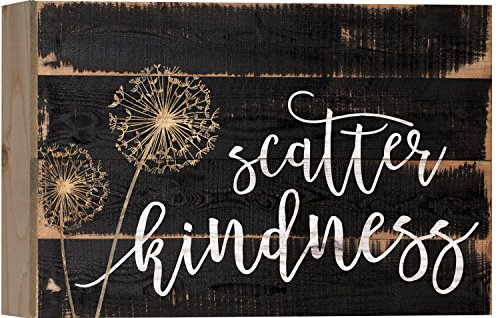Scatter Kindness Dandelion Black 10 x 7 Inch Solid Pine Wood Boxed Pallet Wall Plaque Sign (Sign Inspirational)