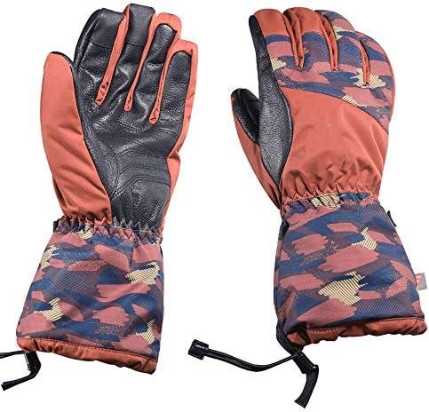 屋外の男性と女性の寒さと暖かいダブルスノーボード手袋 (Color : オレンジ, サイズ : L)