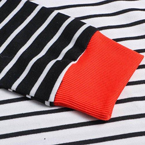 Bringbring Orange Blouse Manches Rayures Longues Mode Shirts T Chemise Col Femme Haut Rond PqBn7C