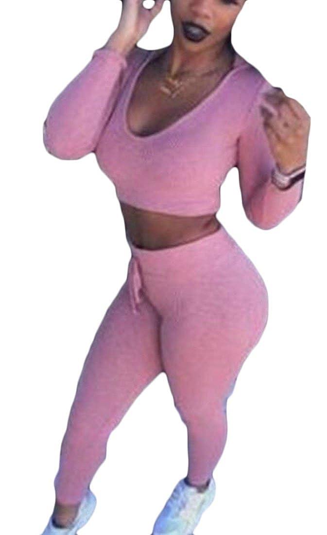 XXBlosom Women Slim Fit Cropped Top Low Cut Skinny Vogue Pants Tracksuit Set