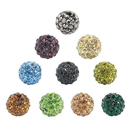 Crystal Shamballa String Bracelet - NBEADS 10mm 100pcs Mixed Color Pave Czech Crystal Rhinestone Disco Ball Clay Spacer Beads, Round Polymer Clay Charms Beads for Shamballa Jewelry Making