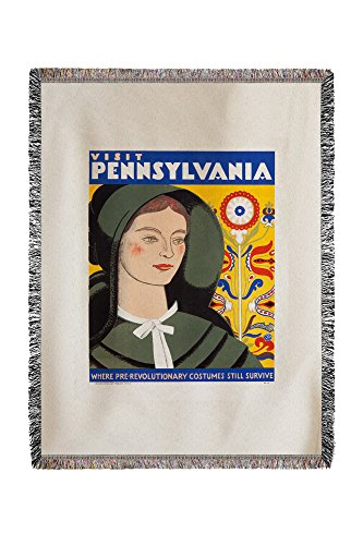 Pennsylvania - Pre - Revolutionary Costumes Vintage Poster (artist: Milhous) USA (60x80 Woven Chenille Yarn Blanket) - 80's Artists Costumes