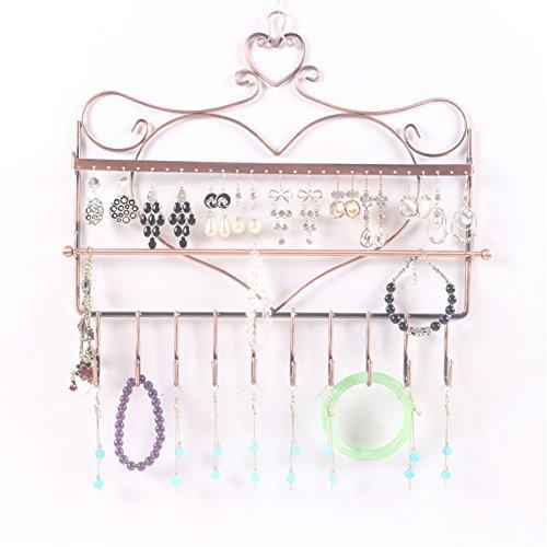 lepod Wandhalterung Herz Form Schmuck Organizer zum aufhängen Ohrring Halter Halskette Schmuck Display Ständer Rack bronze