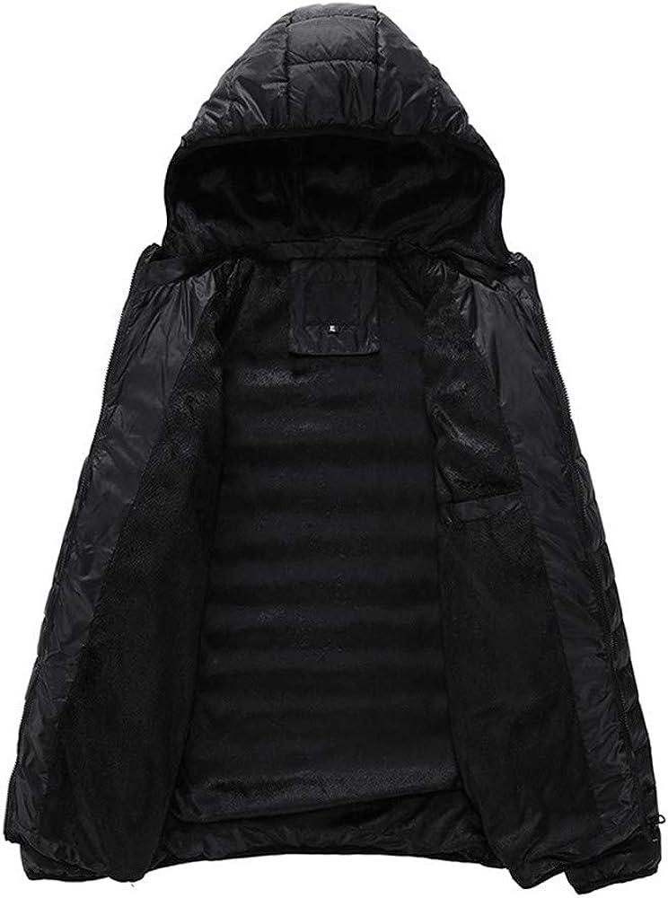 AKIMPE Mens Autumn Winter Jacket Overcoat Outwear Slim Long Trench Zipper Caps Coat